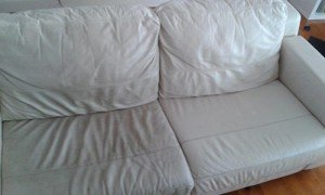 White leather couch after cleaning