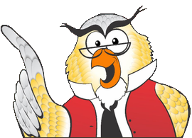 Yellow owl with red vest and glasses - Who Who Carpet Cleaning and Pest Management Logo