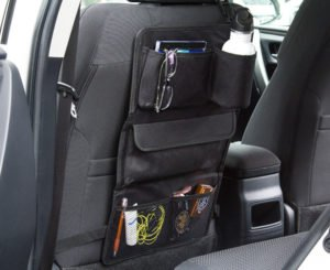 Black shoe organiser hung in car seat