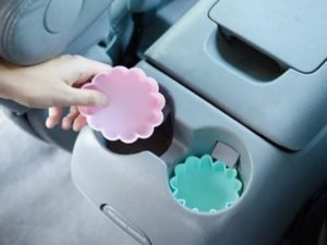 Floral Cupcake Silicone moulds used in car cup holder