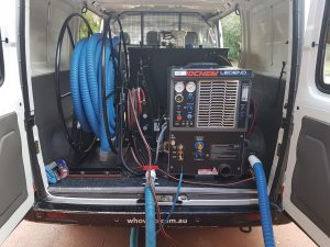 Van with hot water extraction equipment