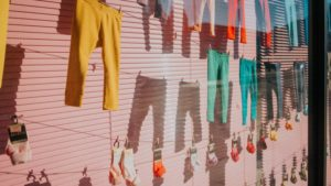 Bright colored pants hung from clothing line- Image used by Who Who Carpet Cleaning Blog