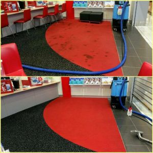 Red carpets cleaned before and after comparison