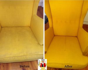Bright Yellow couch before and after Who Who upholstery cleaning
