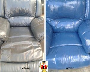 Blue leather recliners - before and after professional leather cleaning