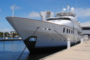 White yacht docked - Marine carpet and upholstery cleaning
