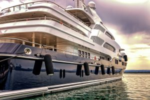 Blue Luxury Yacht close up - Professional marine carpet and upholstery cleaning