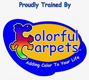 Colorful Carpets Logo with blue background - Carpet Dyeing Brisbane